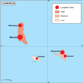 Comoros population map