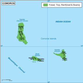 Comoros vegetation map