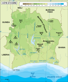 Cote Ivoire physical map