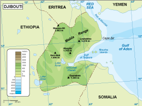 Djibouti physical map