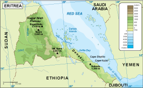 Eritrea physical map