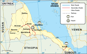 Eritrea transportation map