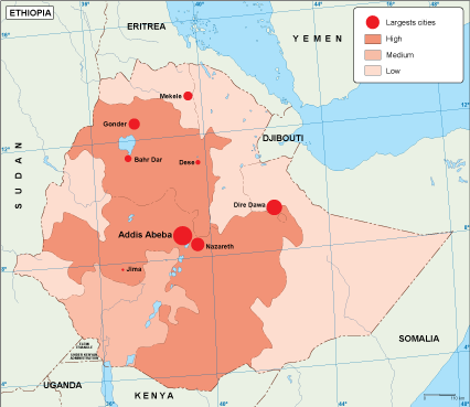 Ethiopia population map
