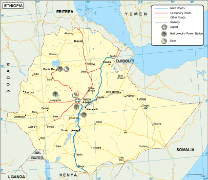 Ethiopia transportation map