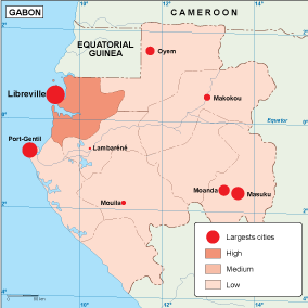Gabon population map