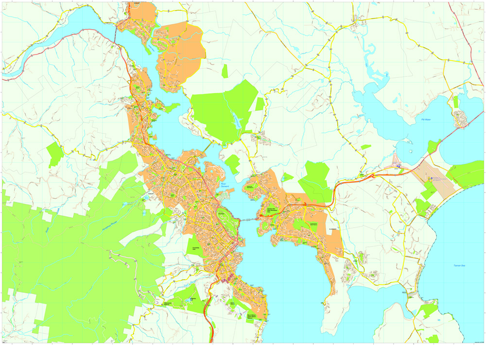 Hobart Vector Maps Order And Download Hobart Vector Maps Made - Hobart map