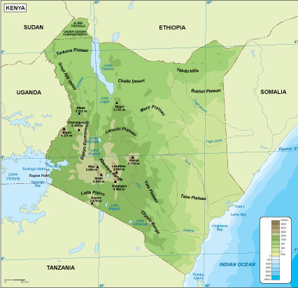 Kenya physical map Order and Download Kenya physical map made for