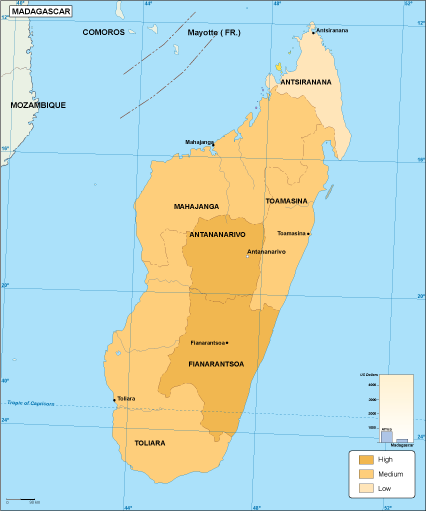 Madagascar economic map