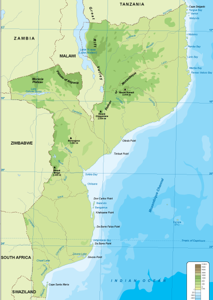 Mozambique physical map
