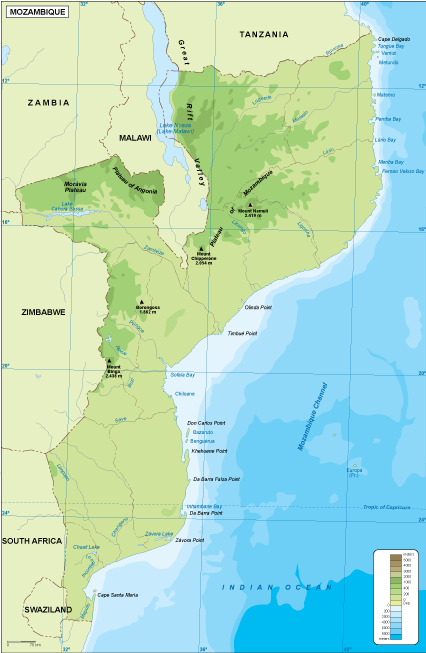 Mozambique physical map Order and Download Mozambique physical map
