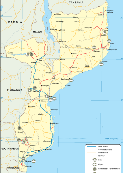 Mozambique transportation map