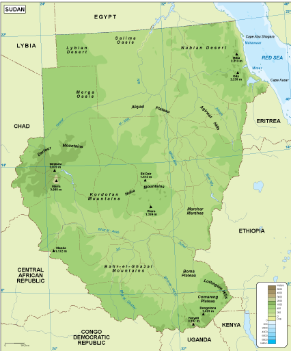 Sudan physical map Order and Download Sudan physical map made for