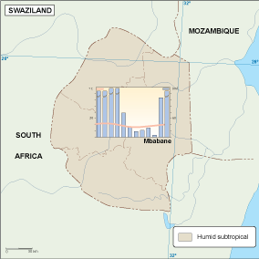 Swaziland climate map