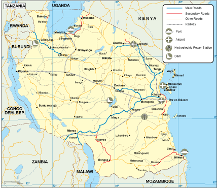 Tanzania transportation map