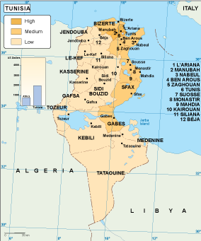 Tunisia economic map