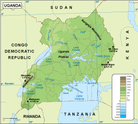 Uganda physical map