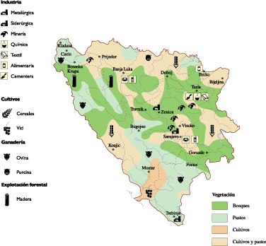 Bosnia Herzegovina Economic map