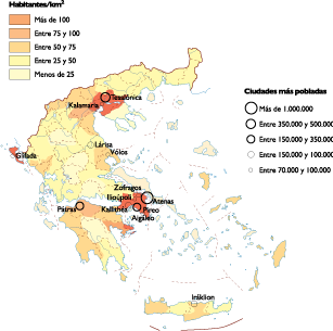 Greece Population map