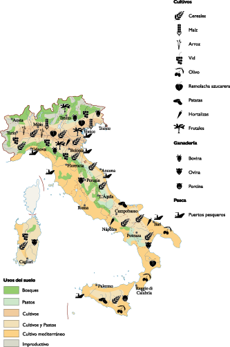 Italy Agricultural map