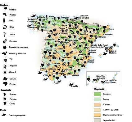 Spain Agricultural map