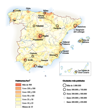 Spain Population map