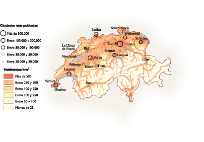 Switzerland Population map