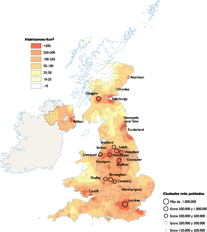 United Kingdom Population map
