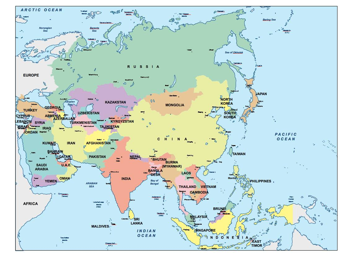 Map Of All Of Asia.Asia Powerpoint Map