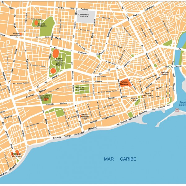 Santo Domingo Illustrator Map