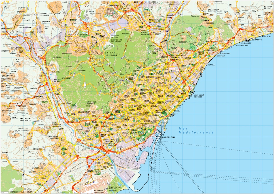 Barcelona Map Vector Order And Download Barcelona Map Vector