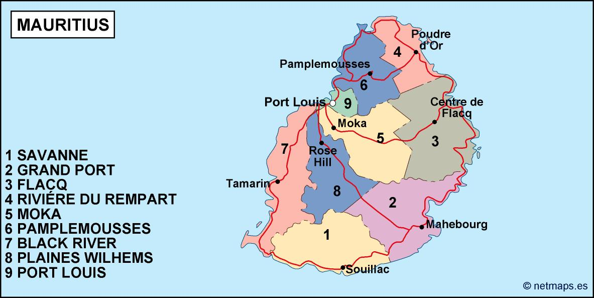 Political Map Of Mauritius mauritius political map. Vector Eps maps | Order and download