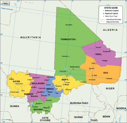 Image result for political map of mali